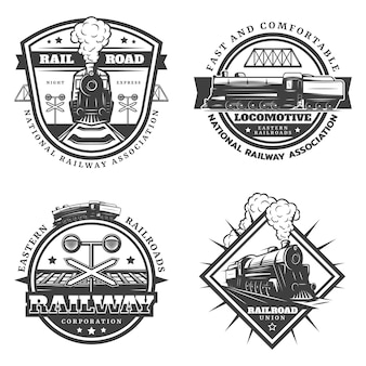 Vintage monochrome retro train emblems set