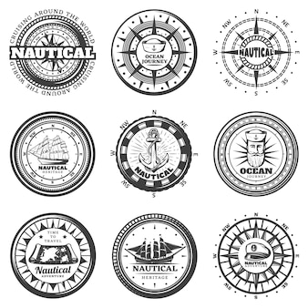 Vintage monochrome round nautical labels set