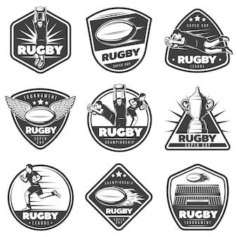 Vintage monochrome rugby labels set