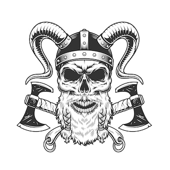 Cranio vichingo scandinavo monocromatico vintage