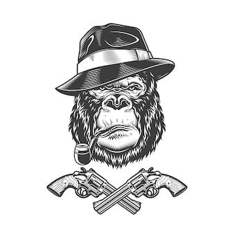 Testa di gorilla gangster serio monocromatico vintage