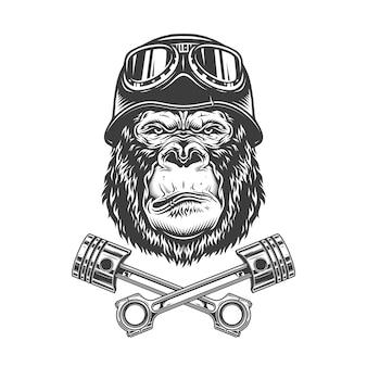 Винтажная монохромная серьёзная голова гориллы