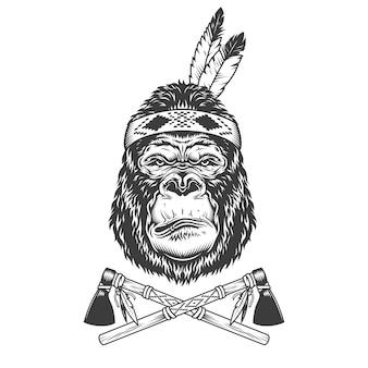 Testa di gorilla grave monocromatica vintage
