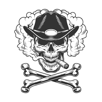 Vintage monochrome sheriff skull smoking cigar