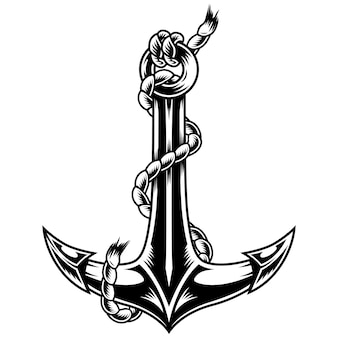 Vintage monochrome ship anchor