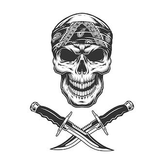 Cranio vintage monocromatico in bandana