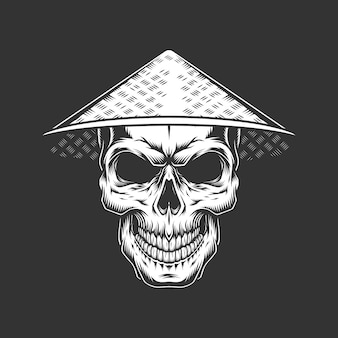Vintage monochrome skull in chinese hat