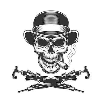 Vintage monochrome skull in fedora hat