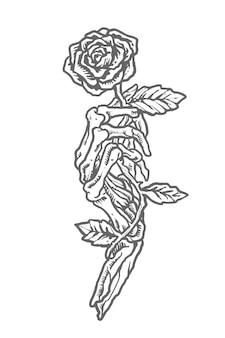 Vintage monochrome skull holding flower