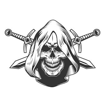 Винтажный монохромный череп в капюшоне