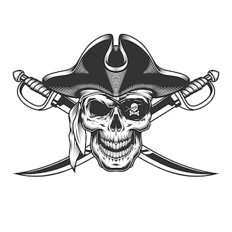 Старинный монохромный череп в пиратской шляпе