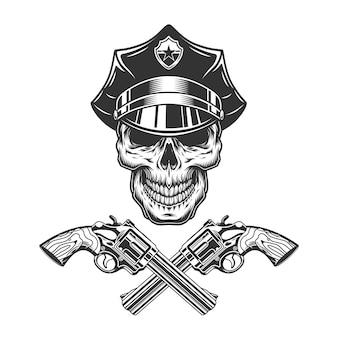경찰 모자에 빈티지 흑백 두개골