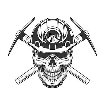 Cranio monocromatico vintage nel casco da minatore