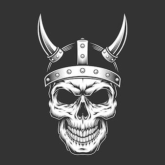 Vintage monochrome skull in viking helmet