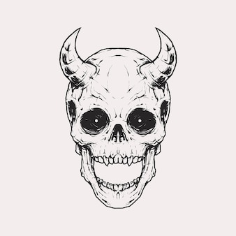 Vintage monochrome skull with devil horn in forehead illustration. isolated vector template