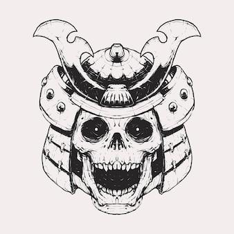 Винтажный монохромный череп с иллюстрацией шлема самурая. изолированный векторный шаблон. подходит для футболок, принтов и т. д.