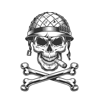 헬멧에 빈티지 흑백 군인 두개골