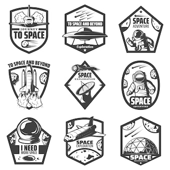 Vintage monochrome space labels set with spaceships ufo astronauts rocket antenna helmet scientific station comets meteors isolated