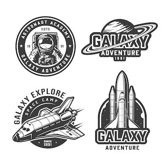 Vintage monochrome space labels set