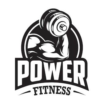 Vintage monochrome sport and fitness logo with muscular hand holding dumbbell