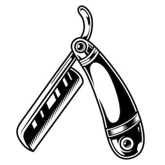 Vintage monochrome straight razor concept