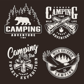Vintage monochrome summer adventure badges