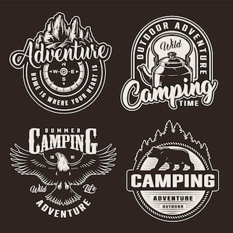 Vintage monochrome summer recreation badges