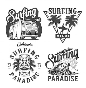 Vintage monochrome surfing labels set