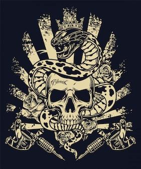 Винтажная концепция монохромной татуировки