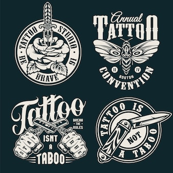 Vintage monochrome tattoo salon labels
