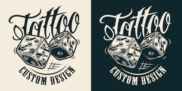 Vintage monochrome tattoo salon logotype