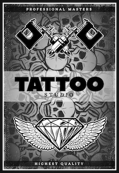 Vintage monochrome tattoo studio advertising poster