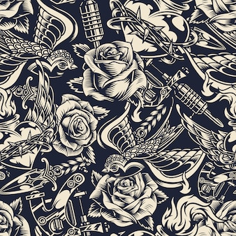 Vintage monochrome tattoos seamless pattern