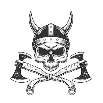 Vintage monochrome viking skull without jaw