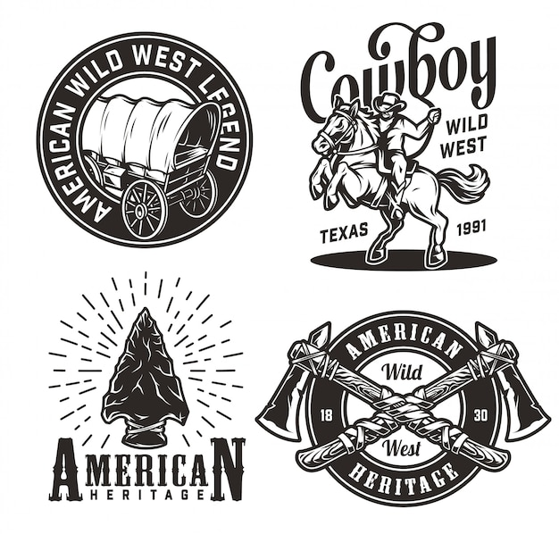 Vintage monochrome wild west badges set