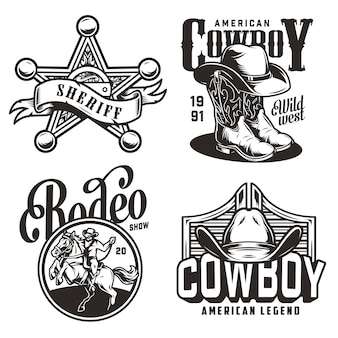 Vintage monochrome wild west emblems