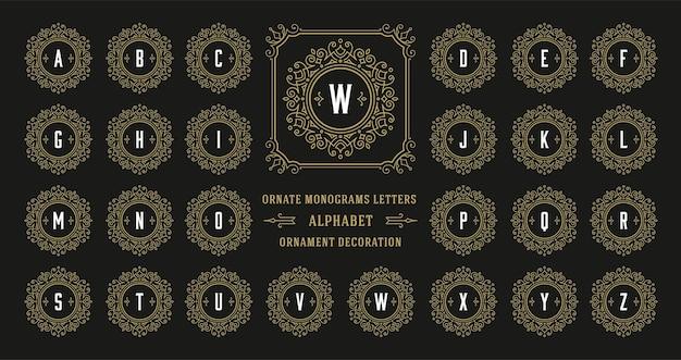 Винтаж монограмма письмо алфавит с декоративной рамкой орнамент процветать