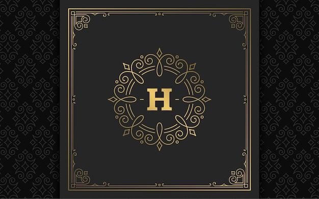 빈티지 모노그램 로고 우아한 번영 라인 아트 우아한 장식품 빅토리아 스타일 템플릿 디자인