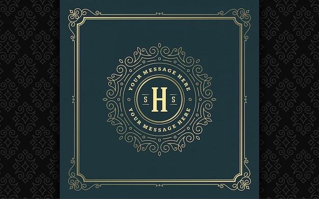 Vintage monogram logo elegant flourishes line art graceful ornaments victorian style  template
