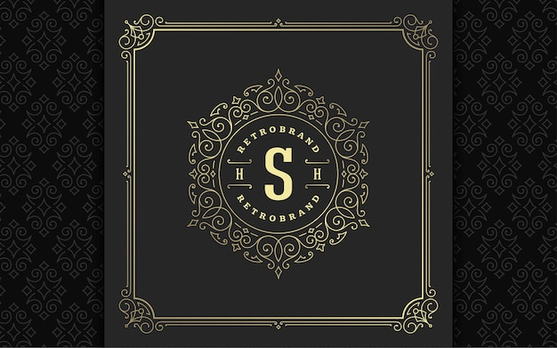 Vintage monogram logo elegant flourishes line art graceful ornaments victorian style vector template design