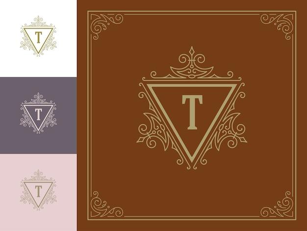 Урожай вензель логотип элегантный процветает линии искусства