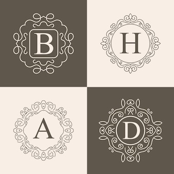 Vintage monogram logo set