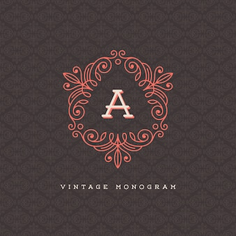 Vintage monogram logo template - flourishes calligraphic frame with letter on a ornamental pattern background
