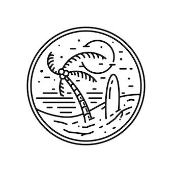 빈티지 모노 라인 하와이 배지