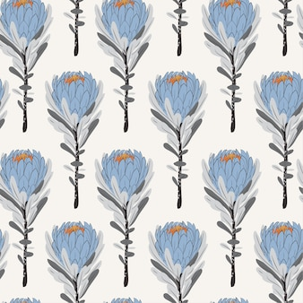 Vintage monotone blue protea flowers in seamless pattern
