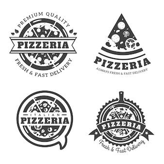 Vintage Monotone Pizza Logo Badge Illustration Set
