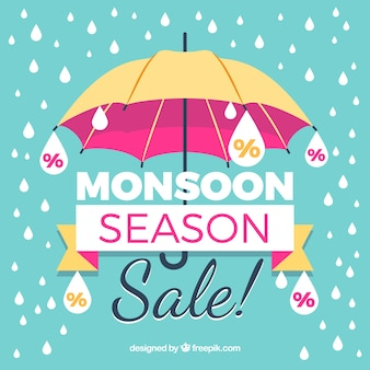 Vintage monsoon sale background with umbrella and drops