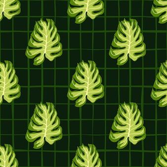 Винтажные монстера листья бесшовные модели.
