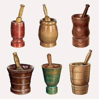Set di illustrazioni vettoriali di mortaio e pestello vintage, remixato dalla collezione di pubblico dominio
