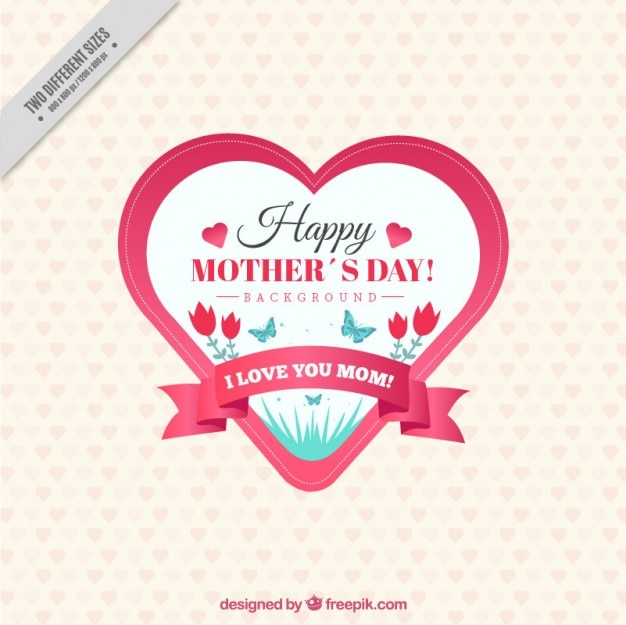 Vintage mother's day badge heart shaped